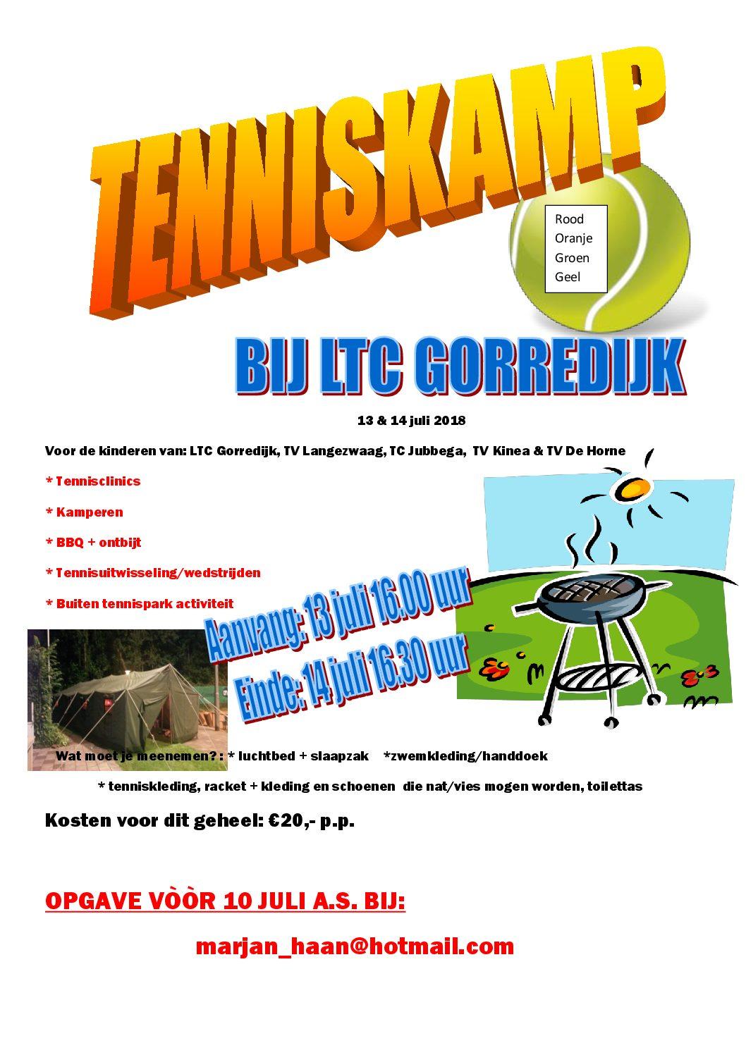 Tenniskamp 2018 Gorredijk